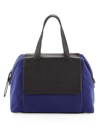 Angel Two-Tone Combo Satchel Bag, Blue/Black