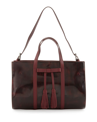 Adette Glazed Leather Satchel Bag, Cranberry