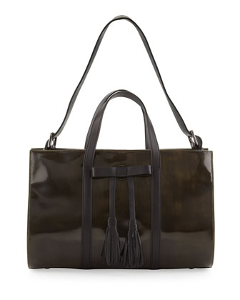 Adette Glazed Leather Satchel Bag, Black