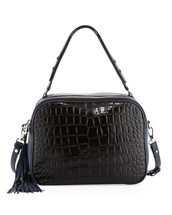 Nora Convertible Embossed Croco & Soft Grained Leather Shoulder/Satchel ...