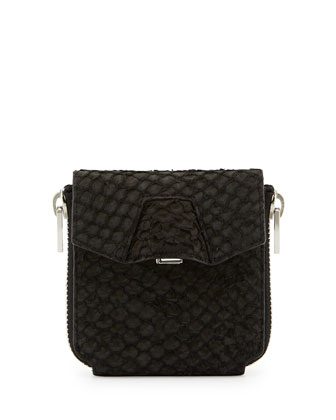 Quillon Snake-Embossed Compact Wallet, Black