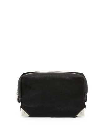 Prisma Rhodium-Hardware Calf-Hair Washbag, Black