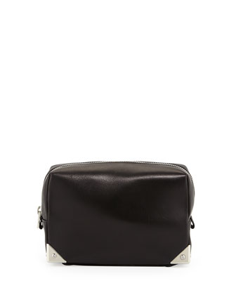 Prisma Rhodium-Hardware Leather Washbag, Black