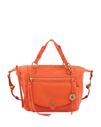 Camara Smooth Leather Logo Satchel, Burnt Orange