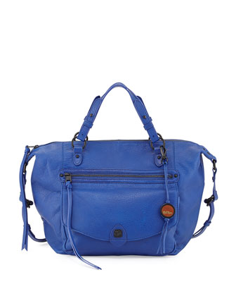 Camara Smooth Leather Logo Satchel, Ultramarine