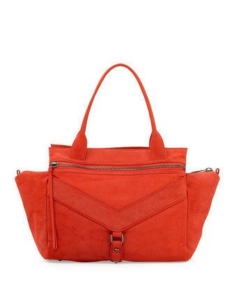 Legacy Satchel Embossed Leather Satchel Bag, Persimmon