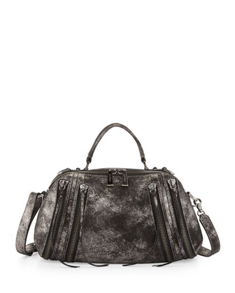 Legacy Top Handle Metallic Leather Shoulder/Satchel Bag, Gunmetal