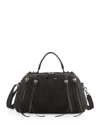 Legacy Top Handle Embossed Leather Shoulder/Satchel Bag, Black