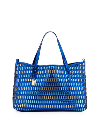 Wanderlust Metallic Woven Faux Leather Shopper/Tote Bag, Sea Blue