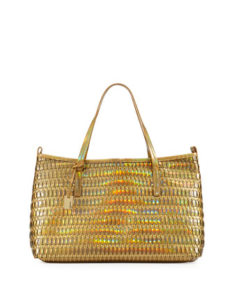 Wanderlust Metallic Woven Faux Leather Shopper/Tote Bag, Champagne