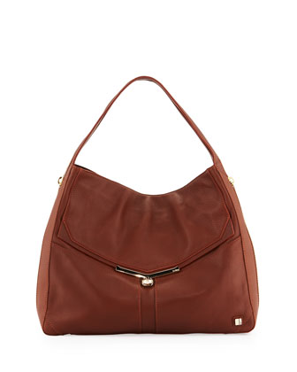 Valentina Pebble Leather Hobo Bag, Brandy
