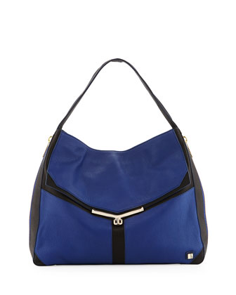 Valentina Colorblock Pebble Leather Hobo Bag, Sapphire