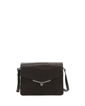 Valentina Shoulder Pebble Leather Shoulder Bag, Black
