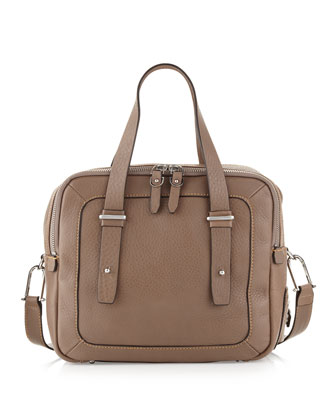 Aperture Pebble Leather Small Satchel Bag, Slate