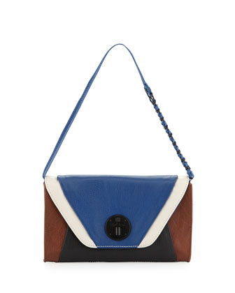 Cordoba Multi-Grained Leather Clutch Bag, Aegean Block