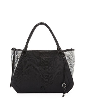 Marcela Reptilian-Embossed Leather Shopper Bag, Mineral Exotic