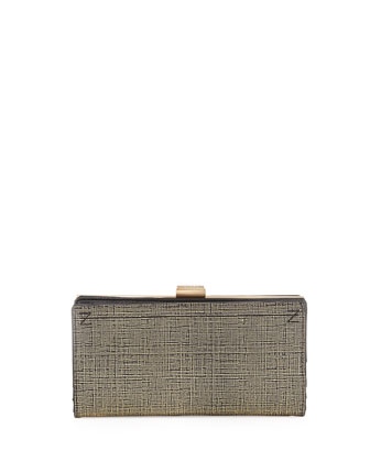 Logo Stitched Clutch Bag, Black/Gold