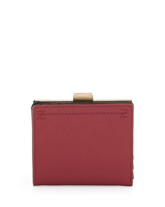 Logo Stitched Short Wallet, Dark Red