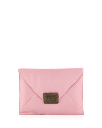 LG Flat Envelope Silk Flap Clutch, Dusty Pink