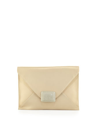 LG Flat Envelope Leather Flap Clutch, Pale Gold