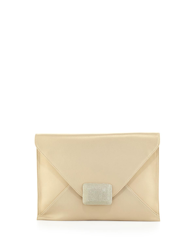 LG Flat Envelope Leather Flap Clutch, Pale Gold   Halston Heritage