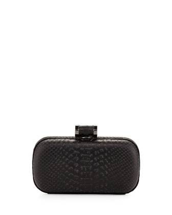 Snake-Embossed Oblong Minaudiere, Black