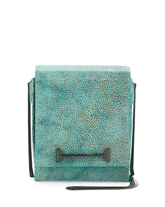 Pebbled Leather Crossbody Bag, Seafoam