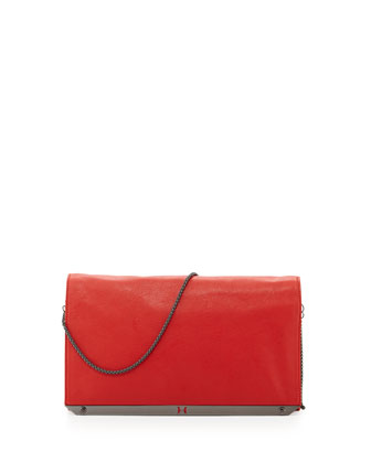 Executive Chain Leather Front-Flap Shoulder Bag, Vermillion