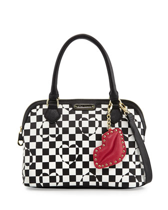 Heart Checkerboard Dome Satchel, Black/White