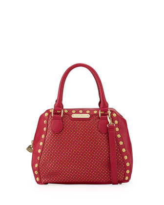 Rosette Stud Two-Tone Bowler Bag, Berry