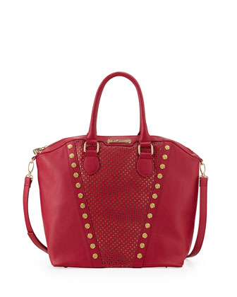 Rosette Stud V Trim Tote Bag, Berry
