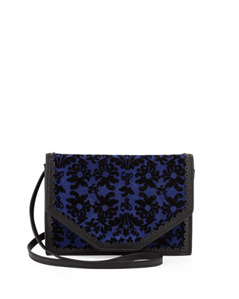 Crossbody Floral Pattern Shoulder Bag, Blue