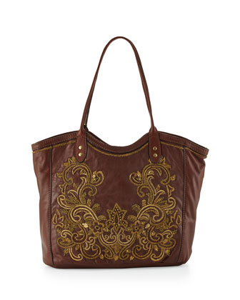 Baroque Applique Maxima Leather Tote Bag, Brandy
