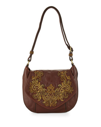Baroque Applique Diana Crossbody Bag, Brandy