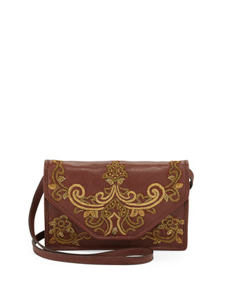 Embroidered Leather Crossbody Shoulder Bag, Brandy