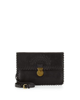 Scalloped Embossed Leather Envelope Bag, Black
