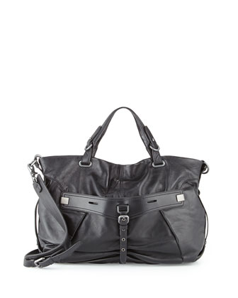 Desmin Leather Satchel Bag, Black