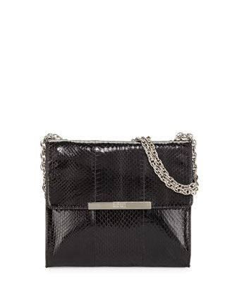 Justine Snake-Embossed Leather Shoulder Bag, Black