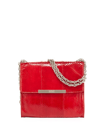 Justine Snake-Embossed Leather Shoulder Bag, Red