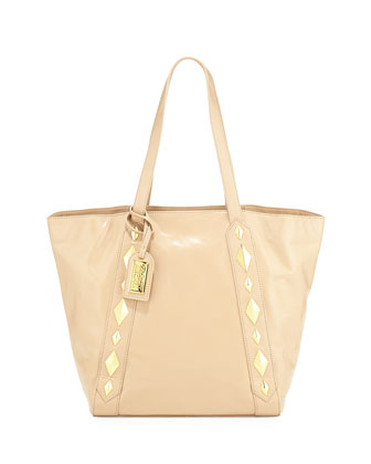 Terri Studded Shine Leather Tote Bag, Latte