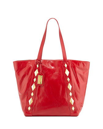 Terri Studded Shine Leather Tote Bag, Red