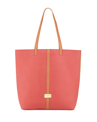 Tonya Saffiano Leather Contrast Trim Tote Bag, Cognac/Red