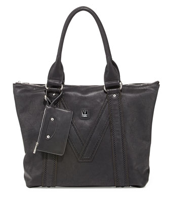 V Perforated-Trim Tote Bag, Black