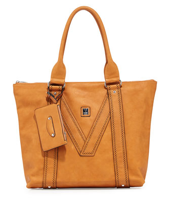 V Perforated-Trim Tote Bag, Camel