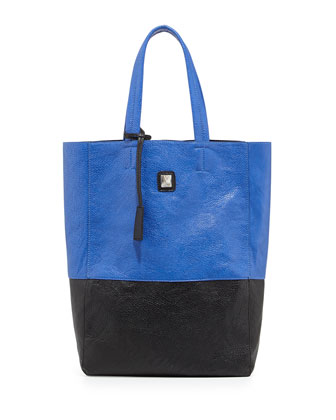 Kami Colorblock Faux Leather Tote Bag, Cobalt/Black