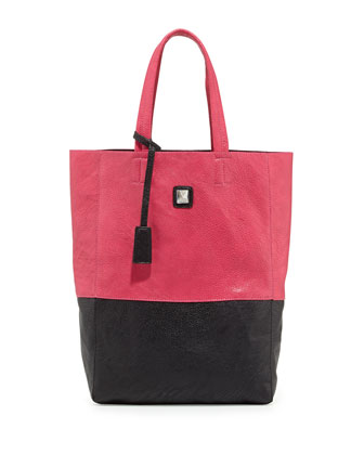 Kami Colorblock Faux Leather Tote Bag, Fuchsia/Black