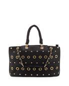 Rebecca Small Gold Studded Tote Bag, Black
