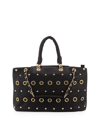 Rebecca Small Gold Studded Tote Bag, Black