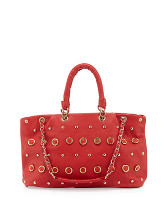 Rebecca Small Gold Studded Tote Bag, Cherry