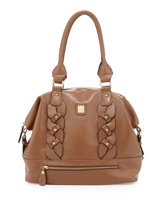 Bianca Braided Dome Satchel Bag, Toffee